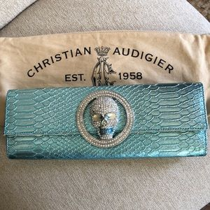 Christian Audigier Icy Blue  Leather Clutch